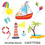 sea icons set funny cartoon  | Shutterstock .eps vector #146979386