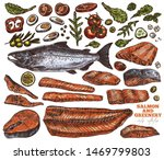 salmon and greenery hand drawn...   Shutterstock .eps vector #1469799803