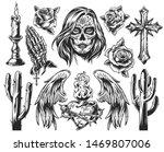 vintage dia de los muertos... | Shutterstock .eps vector #1469807006