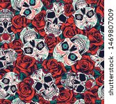 vintage day of dead seamless... | Shutterstock .eps vector #1469807009
