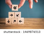 stacked cubes on wooden... | Shutterstock . vector #1469876513