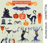 happy halloween elements and... | Shutterstock .eps vector #146987756