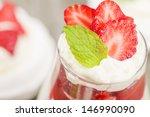 Eton Mess - Strawberries with whipped cream and meringue. Classic British summer dessert. Close up. - stock photo