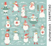 set of cute snowman  | Shutterstock .eps vector #146991560