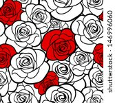 Stock vector seamless pattern with roses contours vector illustration 146996060