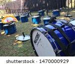 Bass Drum. A Close Up Blue Bas...
