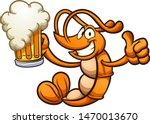happy cartoon shrimp holding a... | Shutterstock .eps vector #1470013670