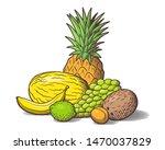 heap of tropical fruits.... | Shutterstock .eps vector #1470037829