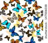 flying butterflies with hearts... | Shutterstock .eps vector #147006038