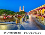 Small photo of Campeche, Mexico, Independence Plaza, tourist trains and Conception Cathedral. Old Town of San Francisco de Campeche