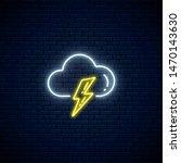 glowing neon thunderstorm... | Shutterstock .eps vector #1470143630