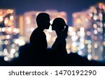 first kiss. young romantic... | Shutterstock . vector #1470192290