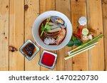 thai food  yentafo noodles ... | Shutterstock . vector #1470220730