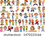 kids in large group acting our... | Shutterstock .eps vector #1470223166