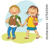 school children going together... | Shutterstock .eps vector #147024344