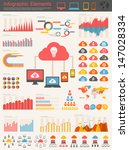 Vector flat design infographic elements collection. Cloud computing with bulb vector illustration with various of infographic elements as charts, diagrams and infographic map for data visualization. - stock vector