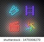 neon ticket  movie tape  clip ... | Shutterstock .eps vector #1470308270