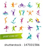 colorful sports icon set | Shutterstock . vector #147031586