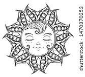 black and white ornamental sun... | Shutterstock .eps vector #1470370253
