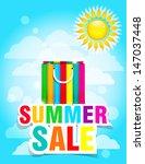 summer sale   typography paper... | Shutterstock .eps vector #147037448