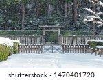 Snow scenery of the Mausoleum of Emperor Juntoku in Kyoto, Japan