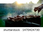 barbecue with smoke outdoors at ... | Shutterstock . vector #1470424730