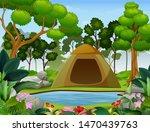 cartoon of camping in a... | Shutterstock . vector #1470439763