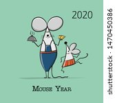 funny mouse  symbol of 2020... | Shutterstock .eps vector #1470450386