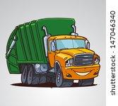 Cartoon Trash Truck Character...
