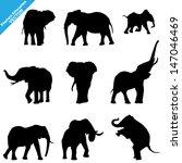 Set Of Elephant Silhouettes....