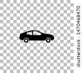 car. black flat icon on a...