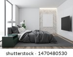 Stock photo interior of stylish bedroom with white walls leather bed modern tv with flat screen and home 1470480530