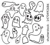 halloween cartoon scary ghost... | Shutterstock .eps vector #1470492686