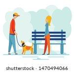 Man Walking Dog On Leash In...