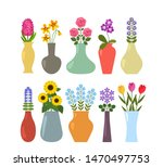 set of colored vases with... | Shutterstock .eps vector #1470497753