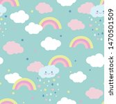 cute clouds with a rainbow on a ... | Shutterstock .eps vector #1470501509