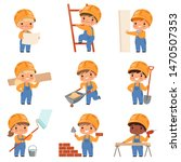 little builders. childrens with ... | Shutterstock .eps vector #1470507353