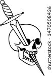tattoo with skull  sword and... | Shutterstock .eps vector #1470508436