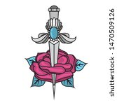 tattoo knife with a rose....   Shutterstock .eps vector #1470509126