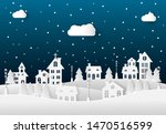 winter landscape with houses... | Shutterstock .eps vector #1470516599