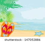 flip flops and seashell on the... | Shutterstock . vector #147052886