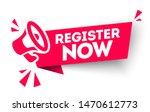 red vector banner register now... | Shutterstock .eps vector #1470612773