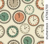 Stock vector vector seamless pattern with vintage clock set fully editable eps file 147061703