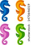 seahorse set on a white... | Shutterstock .eps vector #1470646019