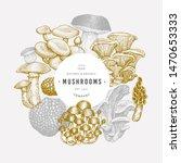 mushroom design template. hand... | Shutterstock .eps vector #1470653333