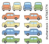 retro cars in 4 different colors | Shutterstock .eps vector #147065774