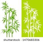 Set Of Handdrawn Green Bamboo...