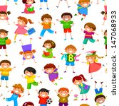 seamless pattern with cartoon... | Shutterstock .eps vector #147068933