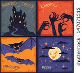 happy halloween grungy retro... | Shutterstock .eps vector #147071513
