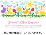 birds and flowers flat banner... | Shutterstock .eps vector #1470724550